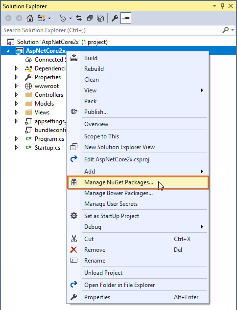 aspnetcore2.x manage nuget packages