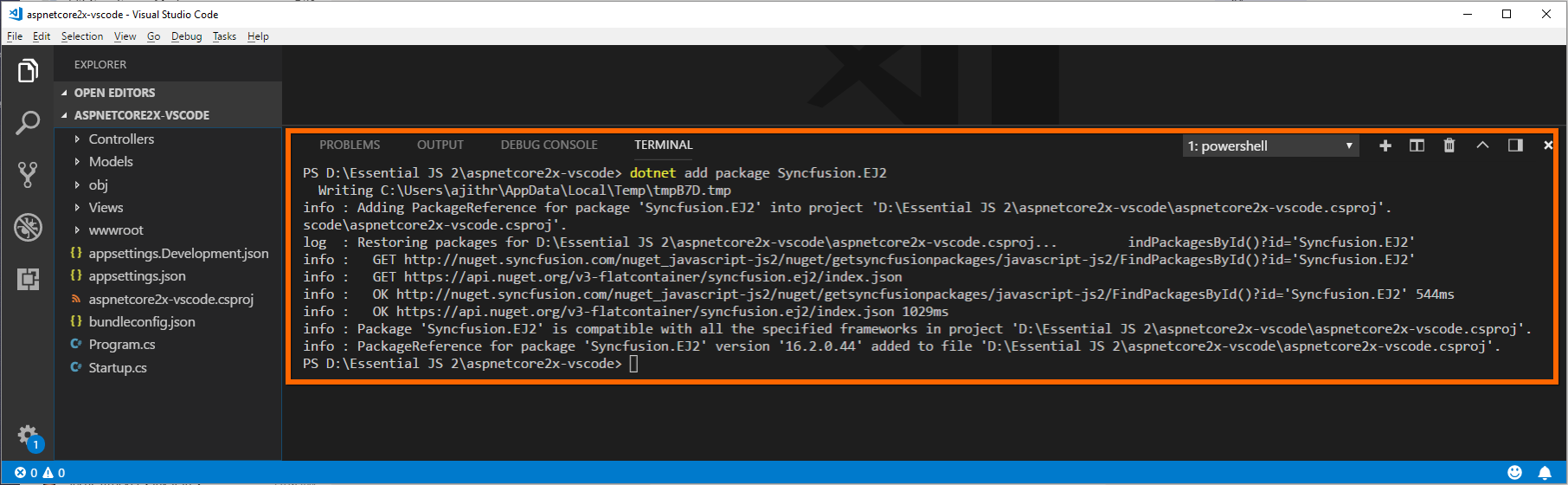 Visual Studio Code · Getting Started · Syncfusion Essential JS 2