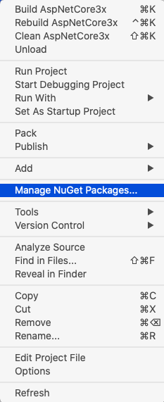 aspnetcore3.x manage nuget packages