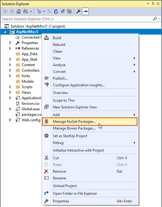 aspnetmvc5 manage nuget packages