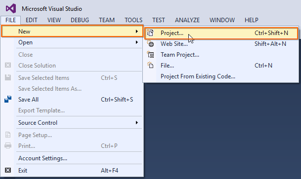 new project in aspnetmvc5
