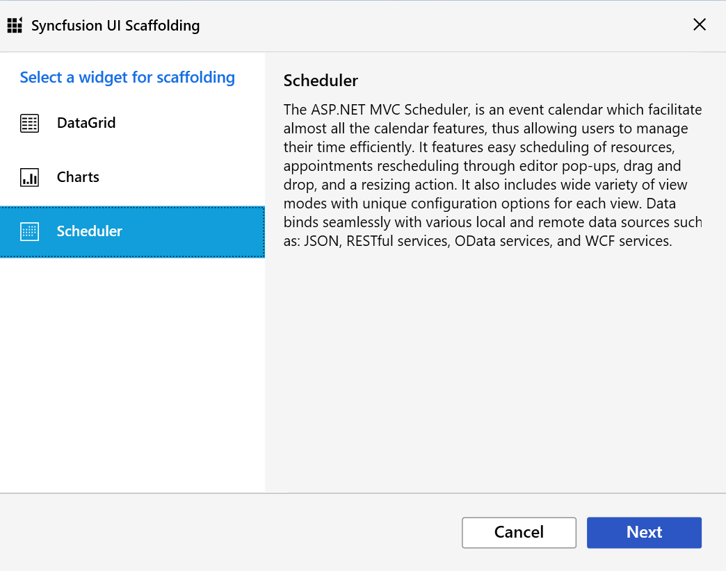 Syncfusion UI scaffolding dialog showing control selection