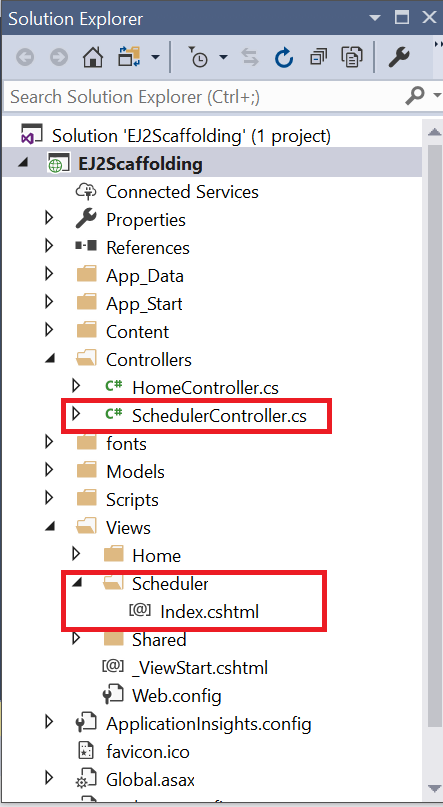 Solution explorer displaying the newly created Controller and View files